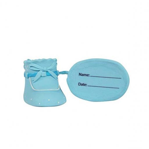 Cake Star Plastic Topper - Baby Booties Blue