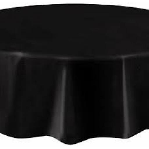 Black-Round Plastic Table Cover -84""