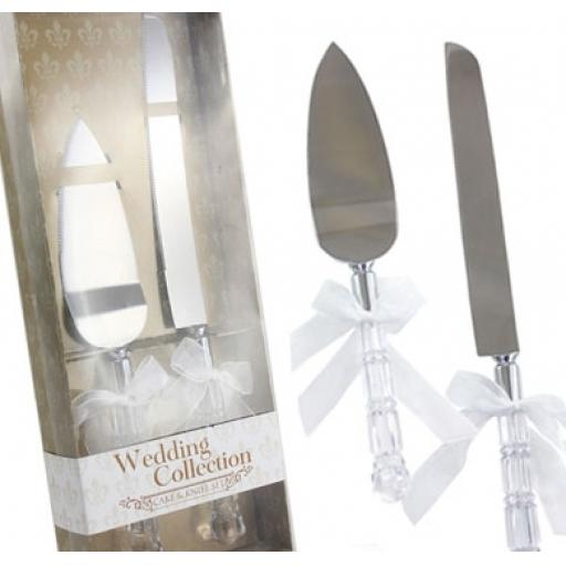 Wedding Cake Knife & Slice Serving Set With Crystal Handles