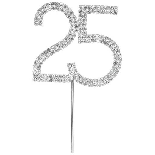 Diamante 25th Birthday Cake Topper Decoration