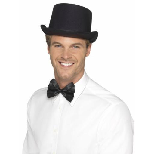 Top Hat Satin Look Black