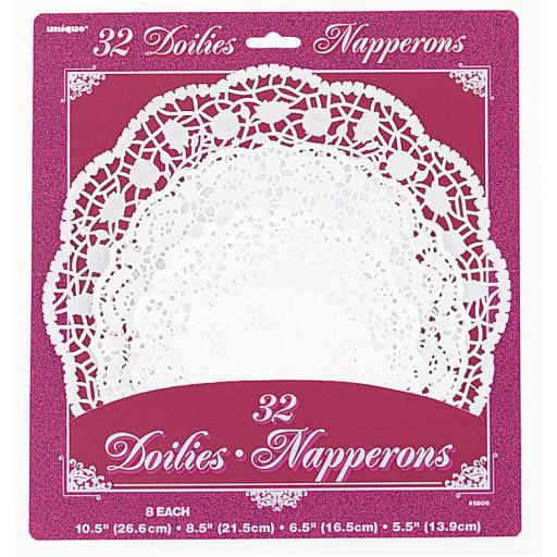 Doilies White Round 4 Different Size 10 8 6 5 inch