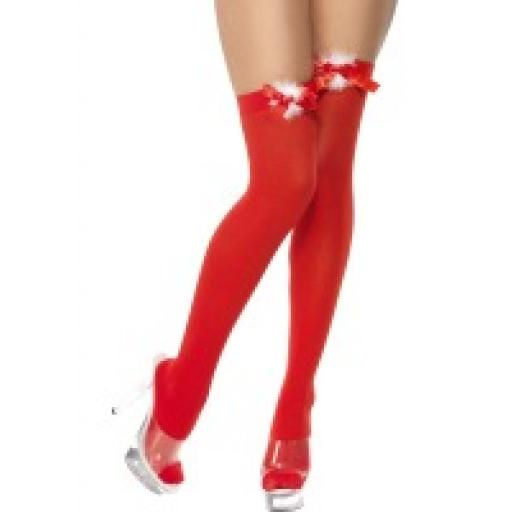 Red Stockings with Marabou Ribbon