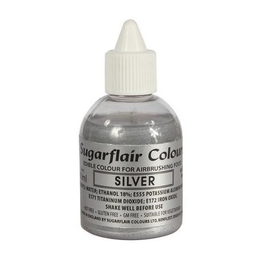 Sugarflair Colours Silver Glitter - Edible Glitter Airbrush Liquid