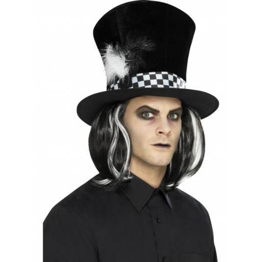 Dark Tea Party Top Hat Black with Hair