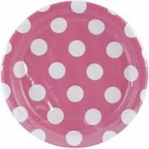 Round Plates 7inch 8ct Hot Pink Dots