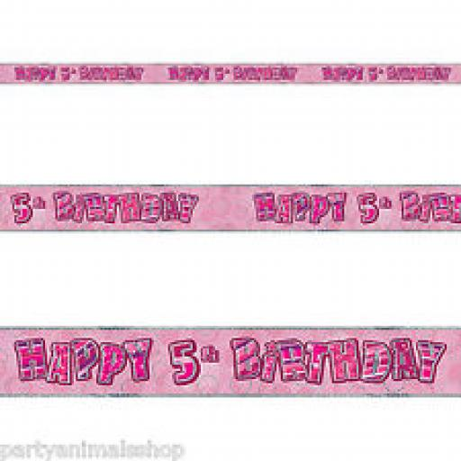 Pink Happy 5th Birthday Holographic Banner 2.7m