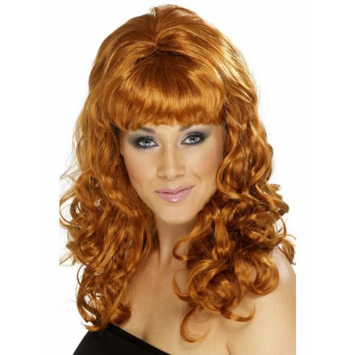 Beehive Beauty Wig Auburn With Curls