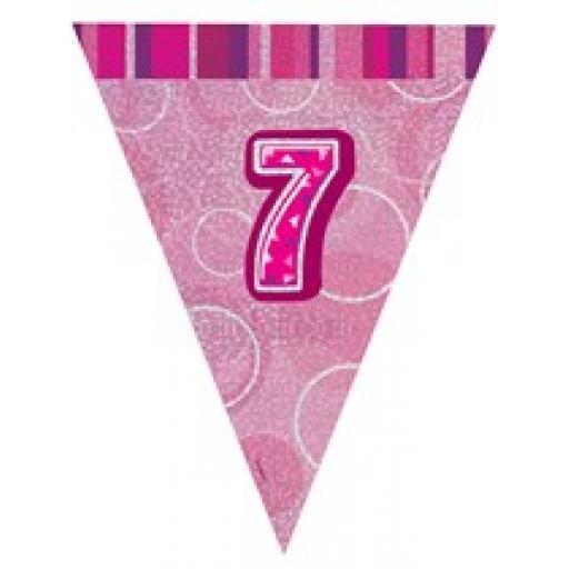 Pink Glitz Flag Banner 7th Birthday 9Ft Long