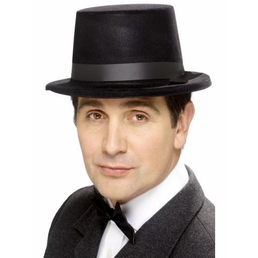 Old England Black Flocked Topper Hat