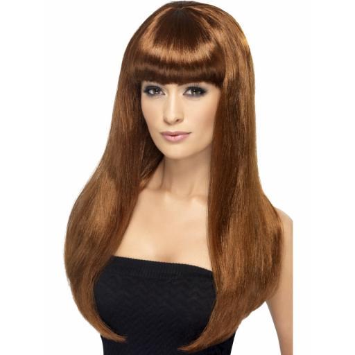 Babelicious Wig Auburn Long Straight with Fringe