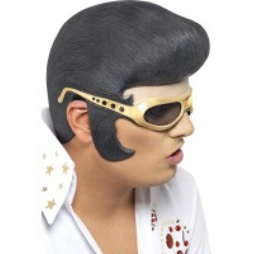 Elvis Headpiece Black and Gold with Rubber Shades