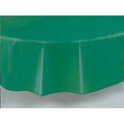 Round Plastic Tablecover 84 inch Emerald Green