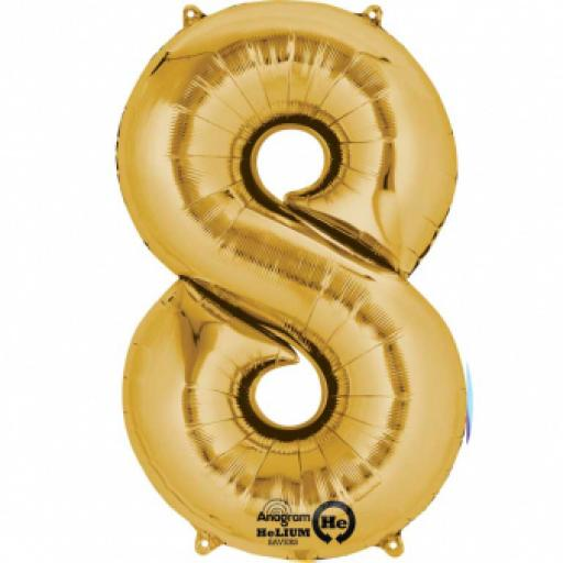 "Number 8 Gold SuperShape Foil Balloon 22""/55cm w x 35""/88cm"