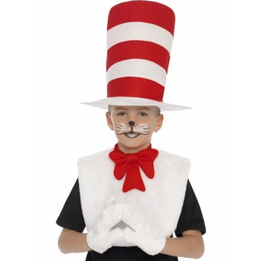 Cat in The Hat Kit Hat Gloves Collar Bow