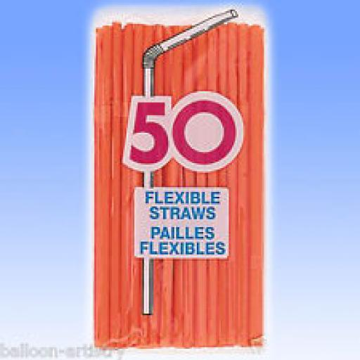 Flexible Straws Orange 50pc