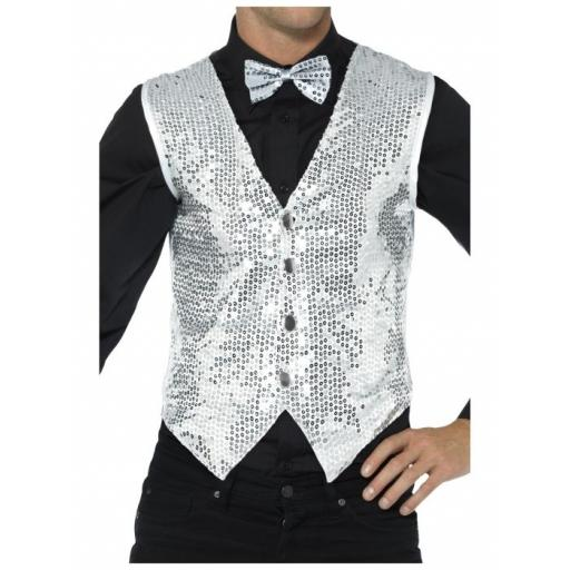 Sequin Waistcoat Silver Adult Size Medium