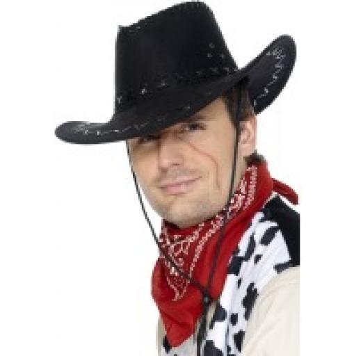 Cowboy Hat Black Suede Look