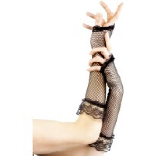 Fingerless Fishnet Gloves Black Black with Lace