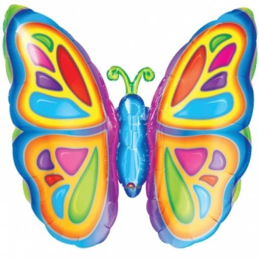 Bright Butterfly SuperShape Foil Balloon 25x25inch