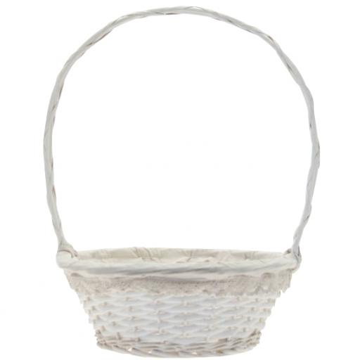 Round Victoria Basket w/handle 35.5cm White