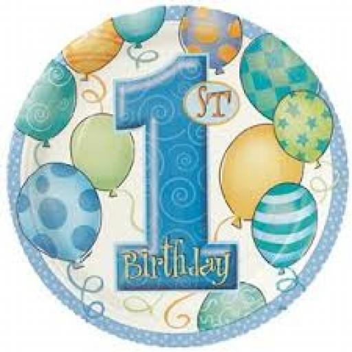 1st Birthday Blue Party Plates 17cm Pack of 8