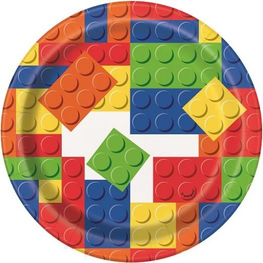 7 Inch Building Blocks Birthday Plates (pack quantity 8)