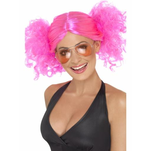 80S Bunches Wig Pink