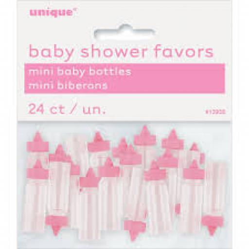 Baby Shower Favors Mini Baby Bottles Pink 24ct