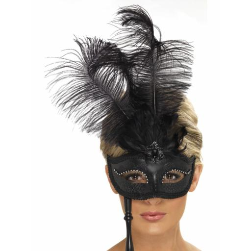 Baroque Eyemask Black with Balck Feather