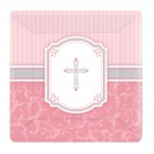 Blessings Pink Square Plates 17.8cm x 8pcs