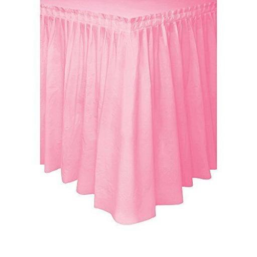 Lovely Pink Plastic Table Skirt 29in x 14Ft