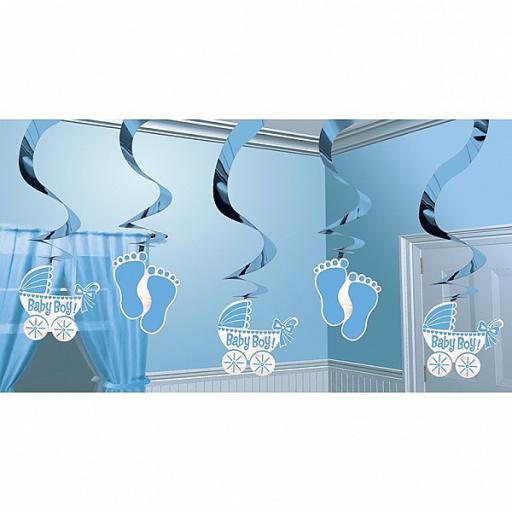 Baby Shower Hanging Swirl Decoration Blue 5pc