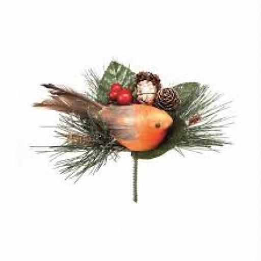 15cm Robin With Pine Cone Pick