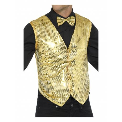 Sequin Waistcoat Gold Adult Size Medium
