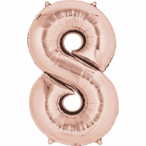 "Rose Gold Number 8 SuperShape Foil Balloons 21""/53cm w x 33""/83cm"