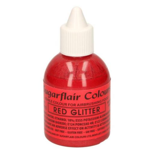Sugarflair Colours Red Glitter - Edible Glitter Airbrush Liquid 60ml