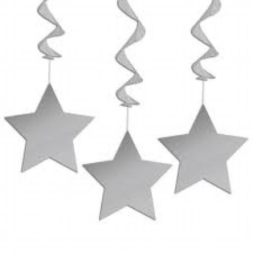 Plastic Swrils with Stars Hanging Decoration 3 pcs