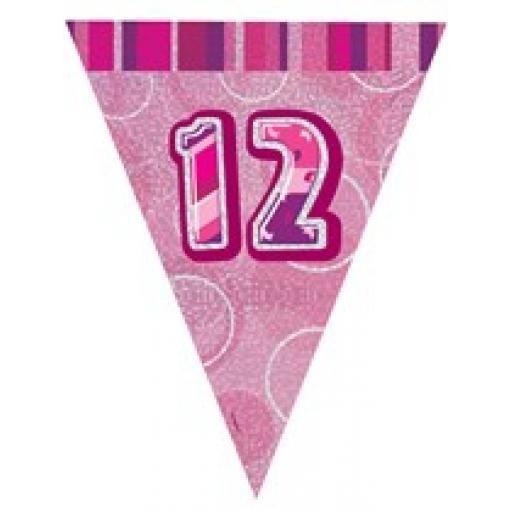 Pink Glitz Flag Banner 12th Birthday 9Ft Long