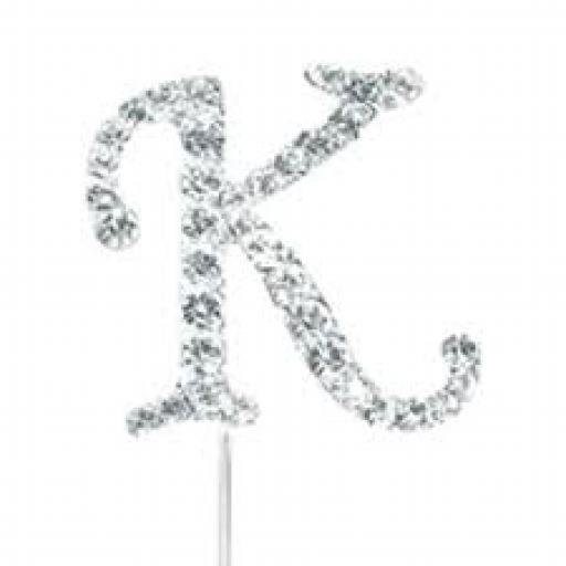 Diamante Letter K Cake Topper Decoration