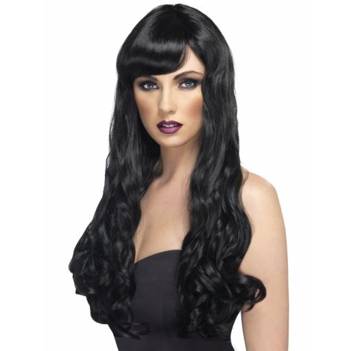 Desire Wig Black Long Curly with Fringe