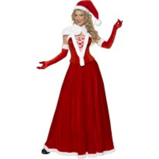 Miss Santa Costume Hat Cape Corset Skirt & Gloves