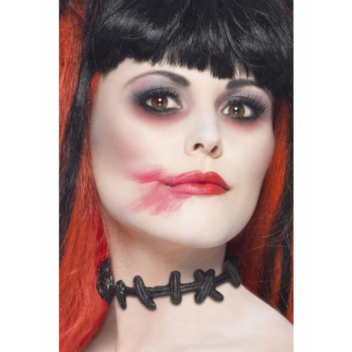 Stitched Up Choker with Stitched Neck Effect