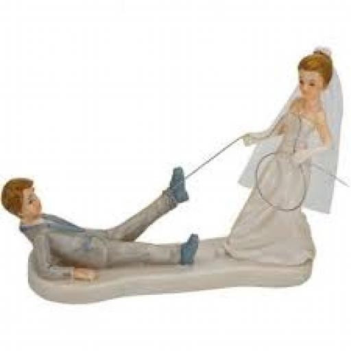 Shiny Bride Dragging Groom Figurines150 x 130mm
