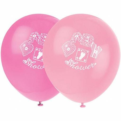 Baby Shower Pink Balloons 8pcs Helium Quality 12in