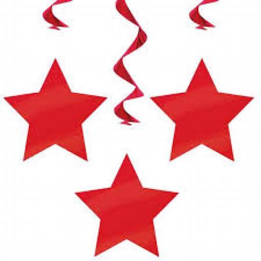 Plastic Swirls with Stars Hanging Deco Red 3 pcs