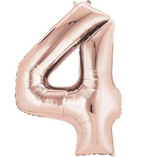 "Rose Gold Number 4 SuperShape Foil Balloons 26""/66cm w x 35""/88cm"