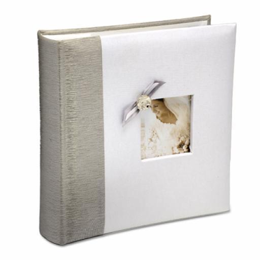 White Satin Foto Album with Silver Edge/Bow
