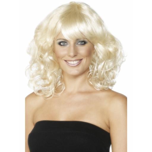 Foxy Wig Mid Length Wavy Blond