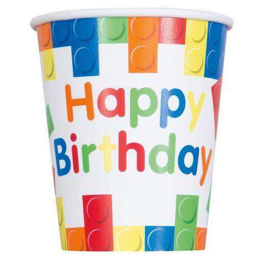 9oz Building Blocks Happy Birthday Kids Party Paper Cups 8ct